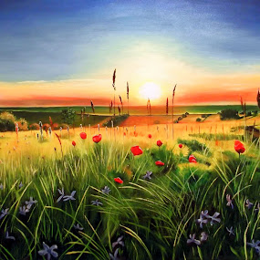 Sunset by Kinga Fekete Kormos - Painting All Painting ( oil on canvas 60x90 cm )