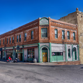 Hote Connor by Charlie Alolkoy - Buildings & Architecture Public & Historical ( motorcycle, arizona, jerome, hotel, building )