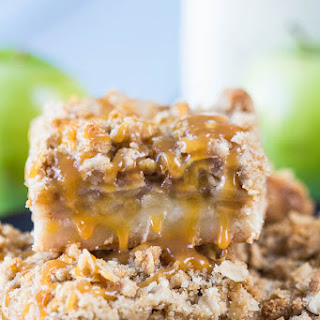 Salted Caramel Apple Crumb Bars