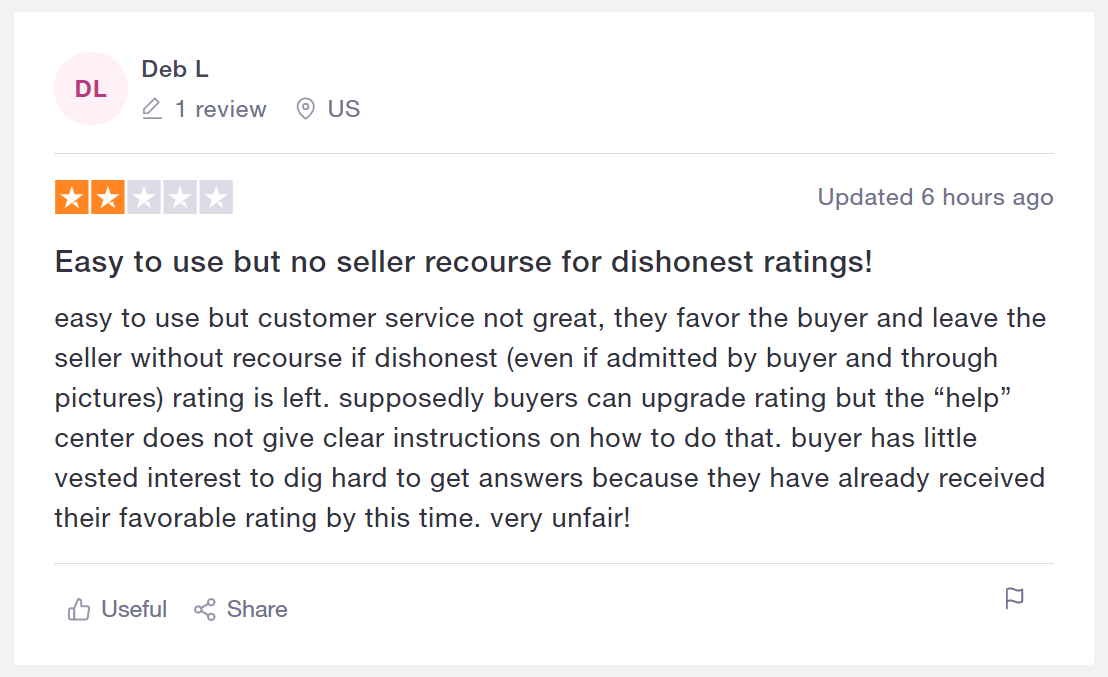 Mercari trustpilot negative review