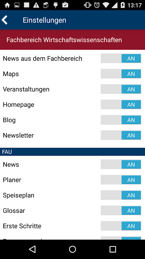 FAU App- screenshot