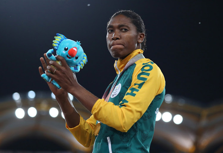 Gold medalist Caster Semenya of South Africa on the podium during the 2018 Commonwealth Games at Carrara Stadium, Gold Coast, Australia on April 13, 2018.