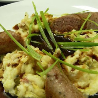 Bloomsday Bangers and Colcannon with Brown Sugar Guinness Gravy