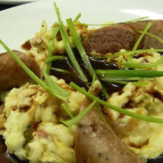 Bloomsday Bangers and Colcannon with Brown Sugar Guinness Gravy.
