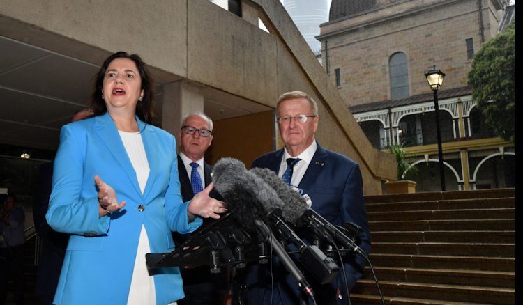 Queensland Premier Annastacia Palaszczuk and Australian Olympic Committee President John Coates at a news conference in Brisbane