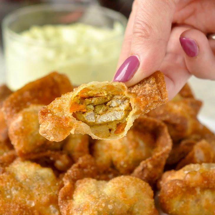 Curry Chicken Stuffed Wontons with Curry Cucumber Raita Dip