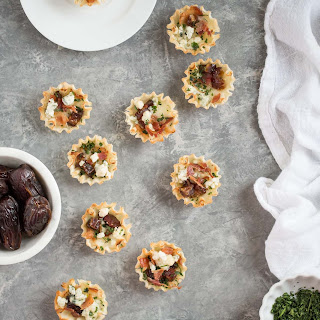 Sweet and Savory Medjool Date, Bacon, and Brie Tarts.