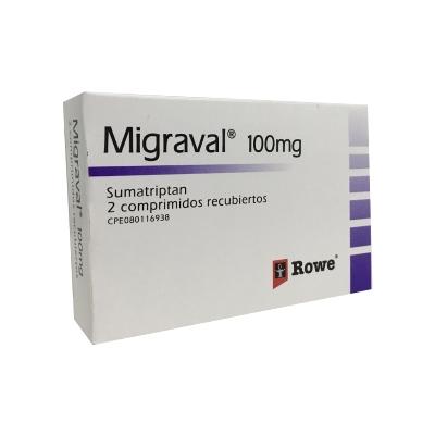 Sumatriptan Migraval 100 Mg X 2 Tabletas Rowe 100 Mg X 2 Tabletas
