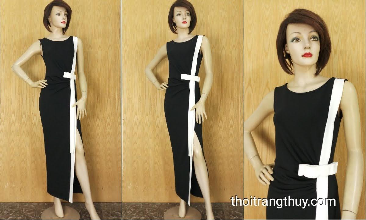 Váy dự tiệc dáng dài xẻ tà đen trắng V638 thời trang thủy
