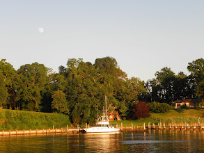 Photo: Mill Creek at sunset with the moon already visible.