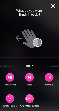Assign audio to gesture screen