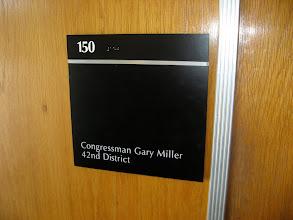 Photo: Outside Gary Miller's office.