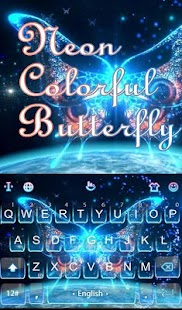 Neon Colorful Butterfly Keyboard Theme apk screenshot 1