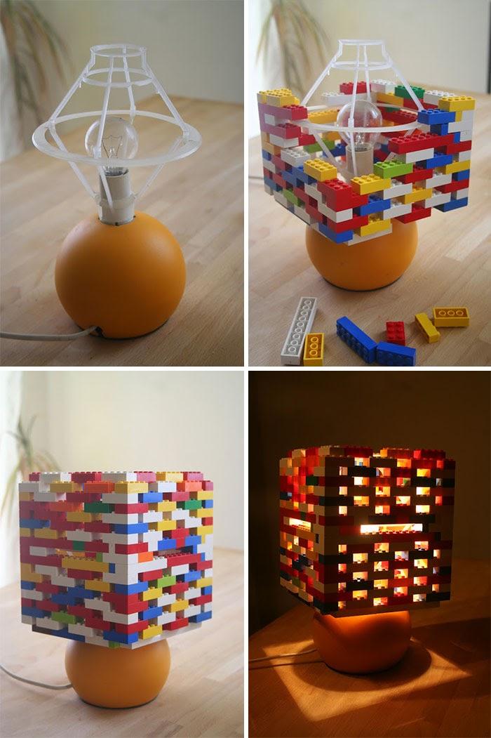 Lampa z kloszem z klocków lego
