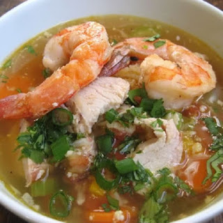 Easy Slow Cooker Chicken Shrimp Soup.