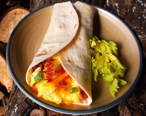 Easy Cheesy Bacon, Egg & Scallion Breakfast Wrap Recipe