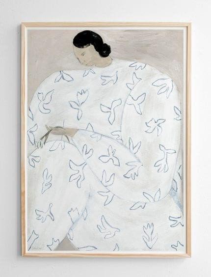 White flower poster 50x70 cm