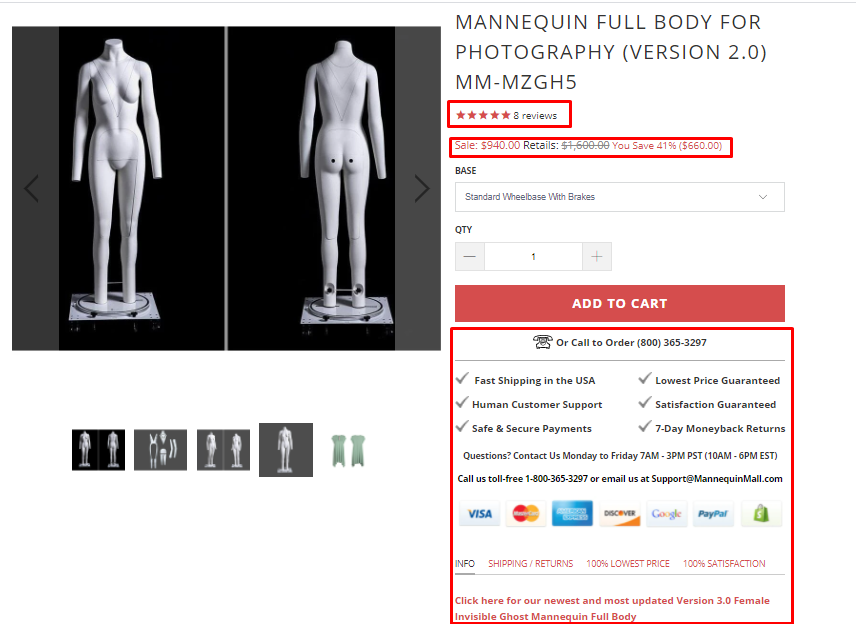 Mannequin Mall smooth customer experience