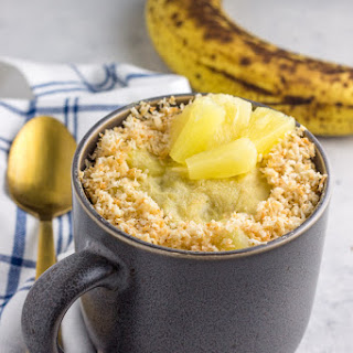 Paleo Banana Pineapple Coconut Mug Cake.