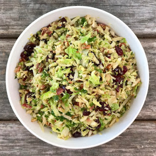 Shredded Brussels Sprout with Bacon, Cranberries & Brown Sugar.