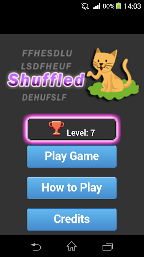 Shuffled word guessing game