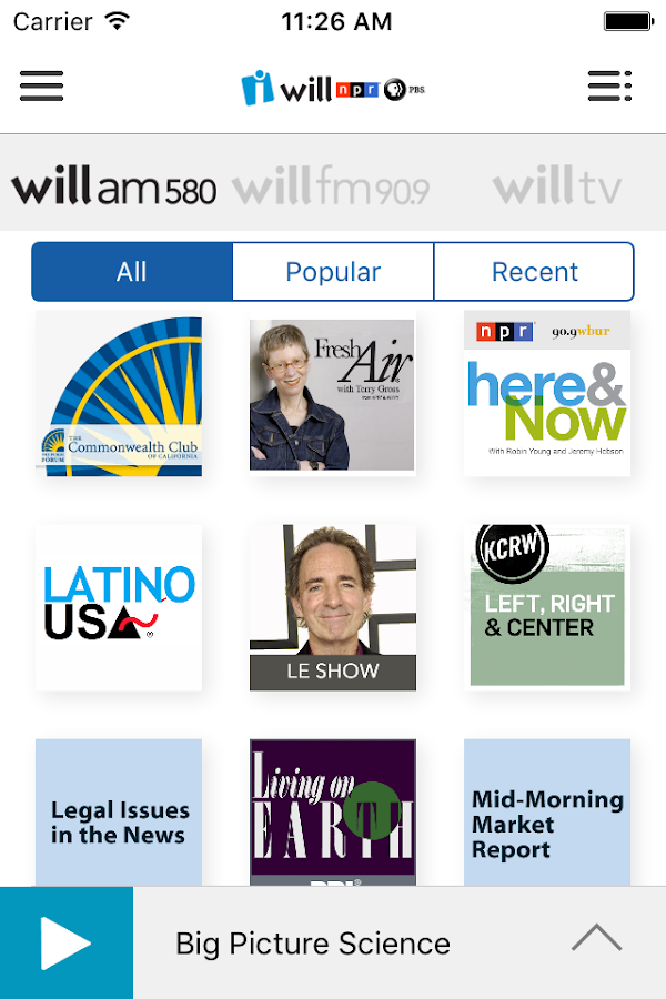 WILL Public Media App- screenshot