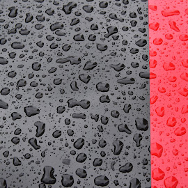 Rouge Et Noir by Marco Bertamé - Abstract Water Drops & Splashes ( noir, red, rouge, drops, line, striped, waterdrops, straight, black,  )
