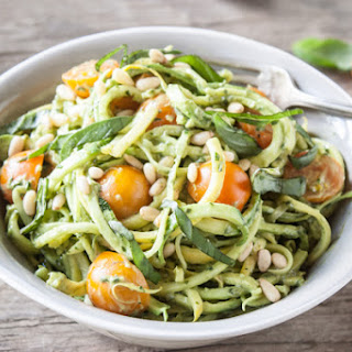 Zucchini Noodles With Creamy Avocado-Basil Sauce.