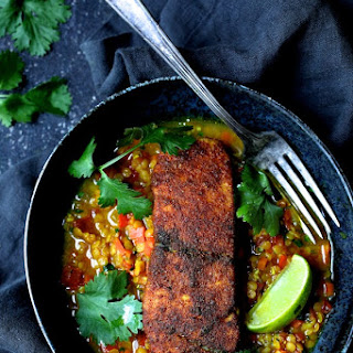 Indian Spiced Sea Bass with Braised Red Lentils Recipe