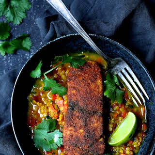Indian Spiced Sea Bass with Braised Red Lentils.