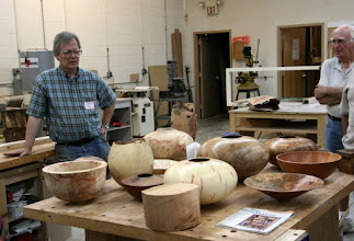 Photo: David displays a number of his large and lovely bowls and hollow forms...