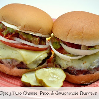 Spicy Two Cheese, Pico, and Guacamole Grilled Burgers