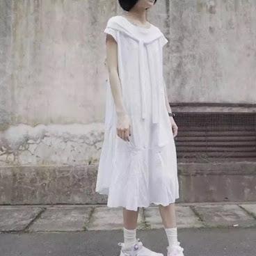 短衫簡約綁帶連身裙 白