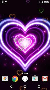 Neon Srdce Živé Tapety - náhled