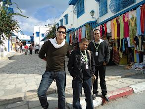 Photo: Ahmad Abdalla with Microphone Stars: Khaled Abol Naga & Atef Youssef. in Carthage film festival in Tunisia 2010