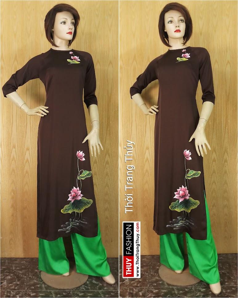 Áo dài vẽ hoa sen thủ công vải lụa V637 Thời Trang Thủy