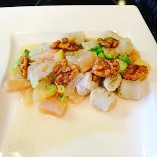 Blue Cheese Gnocchi with Beets Apples and Walnuts