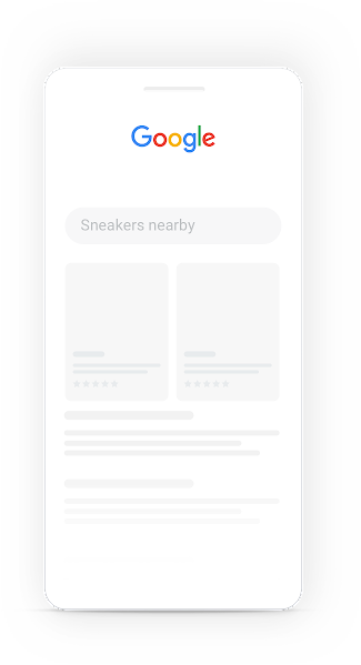 Google search on mobile for 'sneakers nearby'