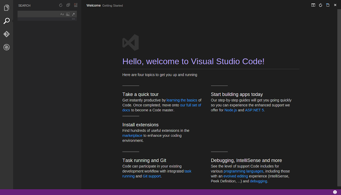visual studio code welcome page