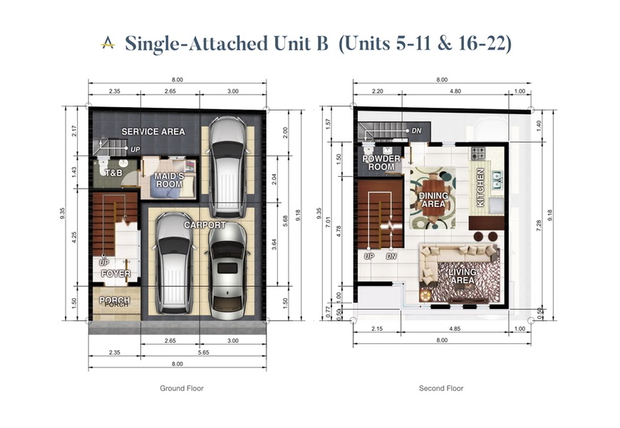 Brizlane Residences Unit B - Ground and 1st floor plan