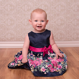 Easter Dress by Nicole Ferris - Babies & Children Babies ( easter, sitting, girl, dress, baby girl, pink, navy, baby, smile, floral,  )