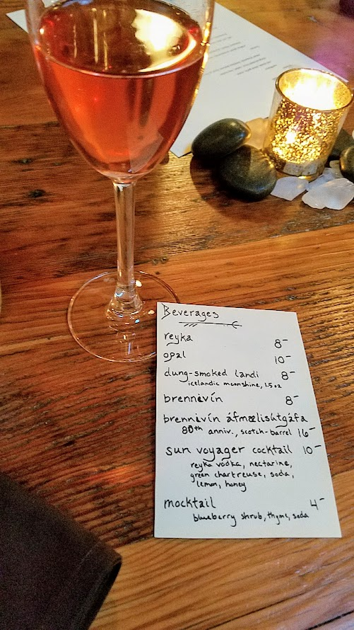 Fimbul PDX offered wine pairings for every course, or you could order wine or drinks a la carte