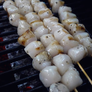GRILLED BAY SCALLOPS SKEWERS.