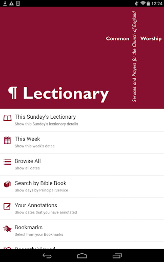 Lectionary: From the CofE screenshot