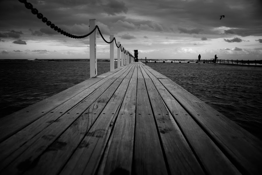Hit the Deck by T R - Landscapes Waterscapes ( clouds, water, black & white, weather, bridge, beach, fishing )