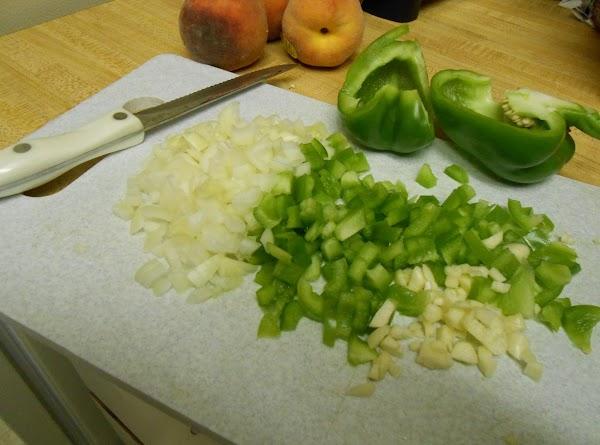 Chop onion, green pepper and garlic