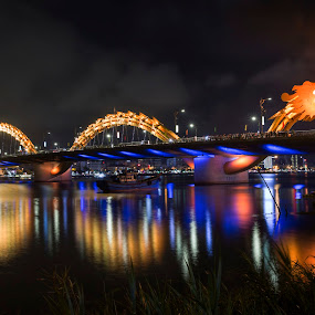 Vietnam, Danang Dragon Bridge by Andre Minoretti - City,  Street & Park  Night ( night view, city lights, vietnam, bridge, danang, city at night, street at night, park at night, nightlife, night life, nighttime in the city )