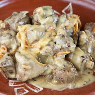 Juicy Chicken Liver With Cheese Sauce.