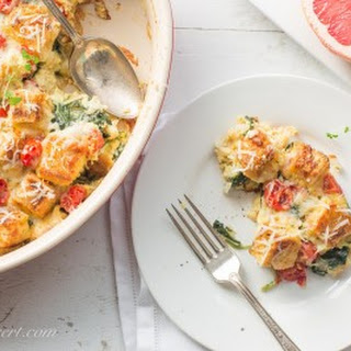 Spinach, Onion & Cheese Breakfast Strata.
