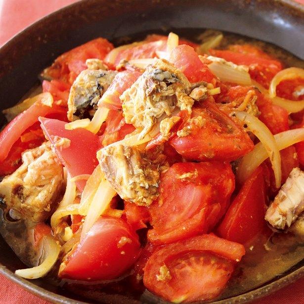「トマトとさば缶のカレー炒め」
